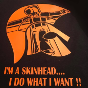 Skinhead Do What I Want Crucifix Trojan T-Shirt (Black & Orange)